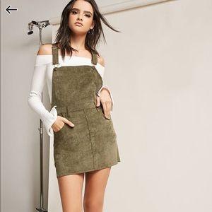 Olive Green Mini Corduroy Overall Dress